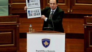 Ethnic Serbs dig in for long protest over Kosovo ban